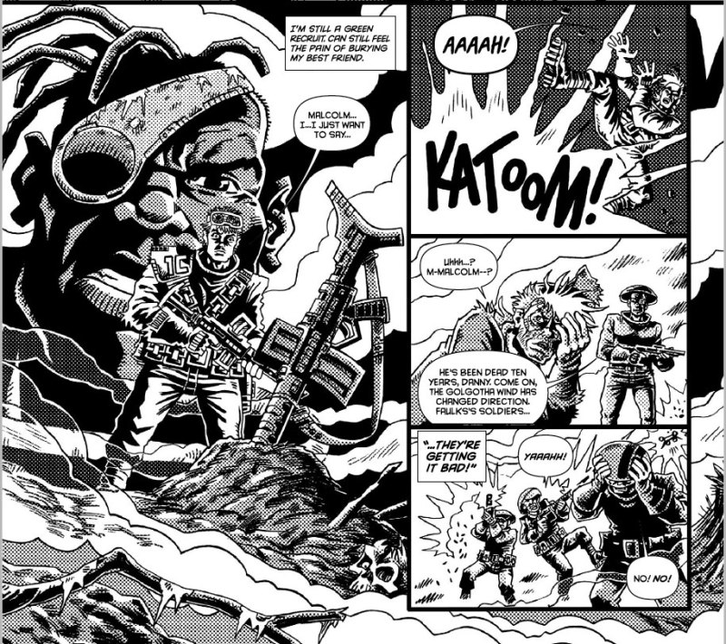 "Cracking ""Bad Company"" art from Rufus Dayglo in 2000AD Prog 1955."