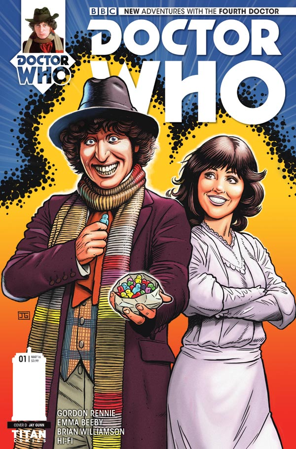 """Doctor Who: The Fourth Doctor #1 - Cover D by Jay Gunn. """"I wanted to homage the old Weetabix and Target books stylized colorful art style for this,"""" he says."""