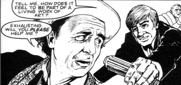 A panel from Stairway to Heaven drawn by Gerry Dolan, inked by Rex Ward, published in Doctor Who Magazine Issue 156