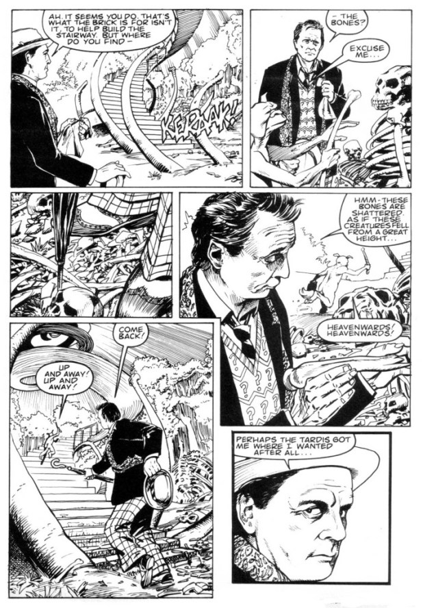 A page from the Doctor Who story Stairway to Heaven, plotted by Paul Cornell, art by Gerry Dolan, inked by Rex Ward. The strip featured in Doctor Who Magazine Issue 156