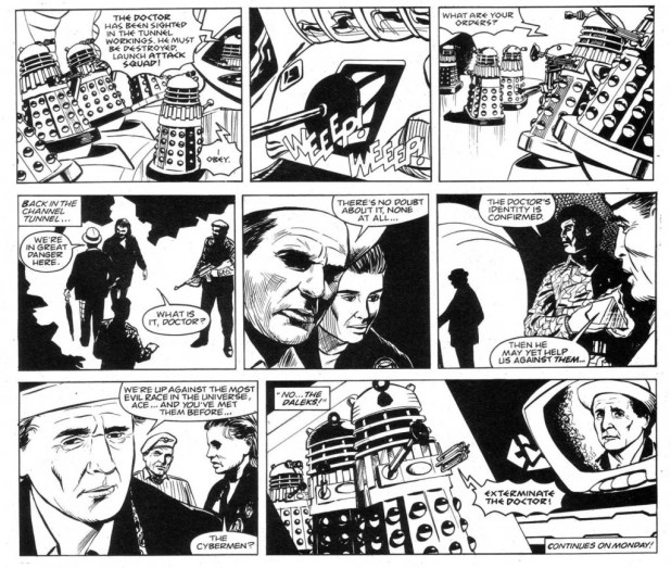 Some of Gerry Dolan's strip samples for a possible Doctor Who newspaper strip pitched to the Daily Express via DWM, inspired by a workshop at a Cardiff Doctor Who convention in the early 1990s.