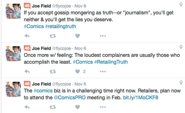 Joe Field's tweets published on the same days as Bleeding Cool's reports on Free Comic Book Day 2015