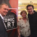 Liberal Democrat leader Tim Farron MP, Lakes Festival Director Julie Tait and Jonathan Ross at Orbital Comics last week. Photo courtesy Julie Tait