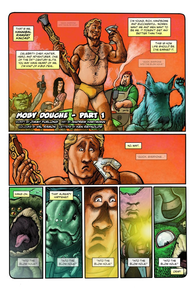 """The opening page of """"Moby Douche"""", written by Jimmy Furlong"""