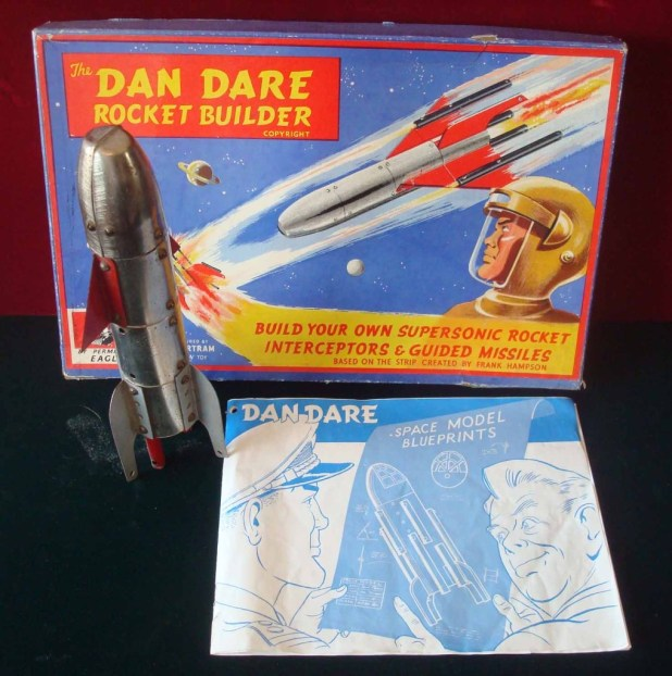 "The Dan Dare Rocket Builder Set comprising: Metal Component Kit. <a href=""http://www.the-saleroom.com/en-gb/auction-catalogues/mullocks-specialist-auctioneers-and-valuers/catalogue-id-srmu10013/lot-6ca5531b-6b07-4c69-8d98-a42600816539"">This set was sold at auction in 2014</a>. The kits were similar in principal to Meccano, Nuts & Bolts and came with an Instruction Booklet with Plans to Construct eight different models."