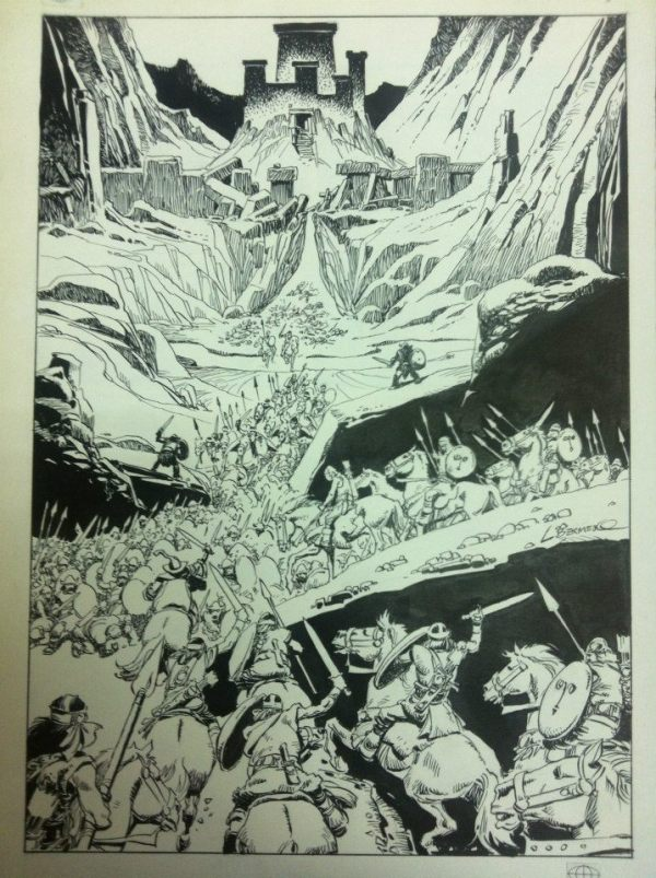 A full page panel from Lord of the Rings drawn by Luis Bermejo