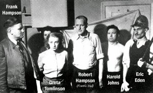 Some of the Dan Dare Team: Frank Hampson, Greta Tomlinson, Frank's father, Robert, Harold Johns and Eric Eden