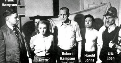 Some of the Dan Dare Team: Frank Hampson, Greta Tomlinson, Frank's father, Robert, Harold Johns and Eric Eden