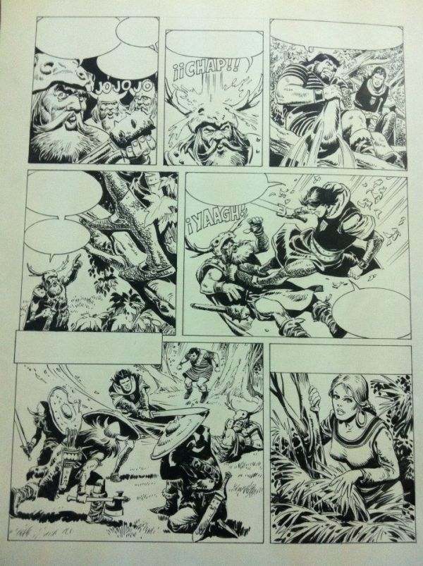 An action-packed page from Los Aventuras del Capitán Trueno, drawn by Luis Bermejo