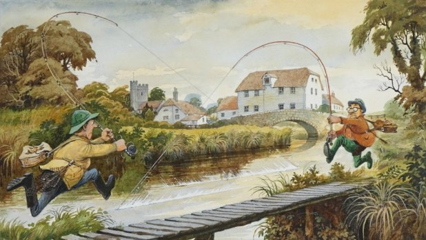 Two fishermen run at each other across a bridge in a cartoon by Norman Thelwell