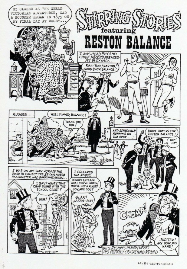 """Stirling Worth"", drawn by Geoff Campion was one of a number of two-page adventure strips proposed for Zip, the character created by Tim Quinn"