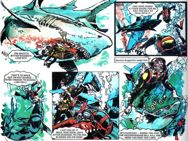 "Action's best-known strip ""Hookjaw"", written by Ken Armstrong and drawn by Ramon Sola."