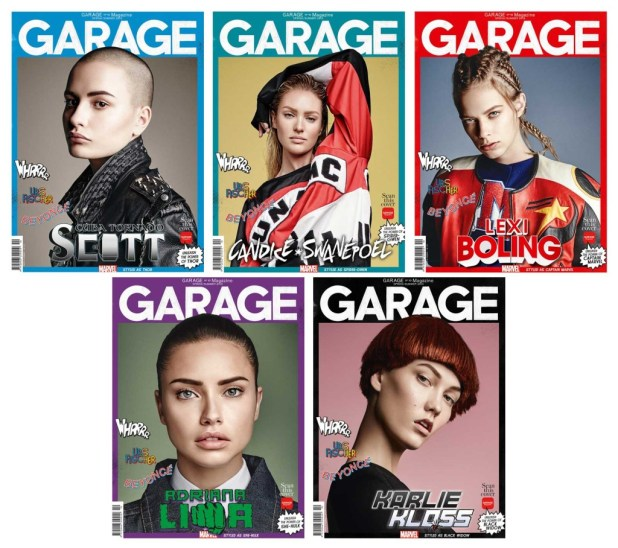 A montage of the Garage 10 covers featuring models Cuba Tornado Scott as Thor, Candice Swanepole as Spider-Gwen, Lexi Bowling as Captain Marvel, Adriana Lima as She-Hulk and Karlie Kloss as Black Widow.