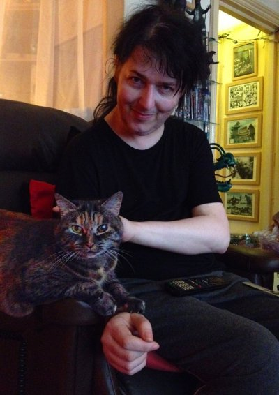Tony Luke and his beloved cat, Misty, earlier this year. Photo: Kevin Jon Davies.