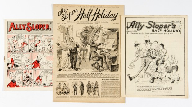 Under the hammer: Ally Sloper's Half Holiday No. 501 (1893) with New Series No 1 (1949) and Ally Sloper No 1 (1948).