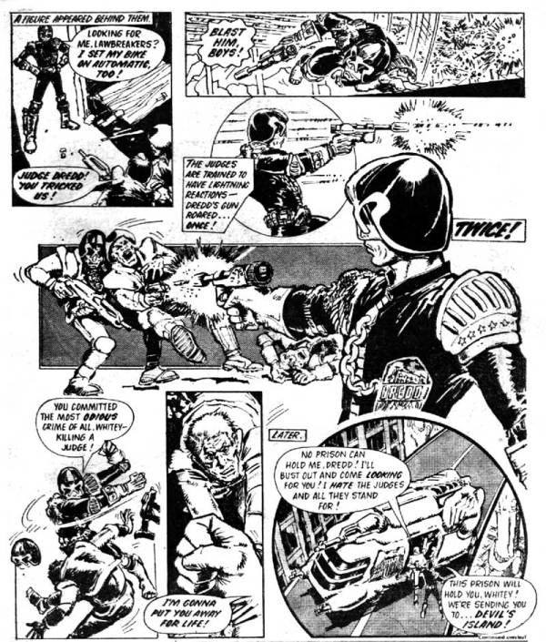 A page from Judge Dredd's first published appearance in 2000AD Prog 2 in 1977, drawn by Mick McMahon