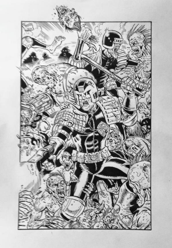 Judge Dredd art by Jon Haward for a charity print for this year's Invasion Colchester event . Only 30 colour prints (coloured by Nigel Dobbyn) will made and Jon's art will be auctioned for the event.