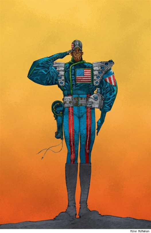 Mick's cover for the Com.X collection of The Last American