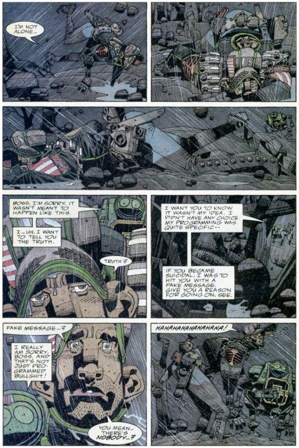 One of Mick McMahon's favourite pages from The Last American (#3), written by John Wagner and Alan Grant
