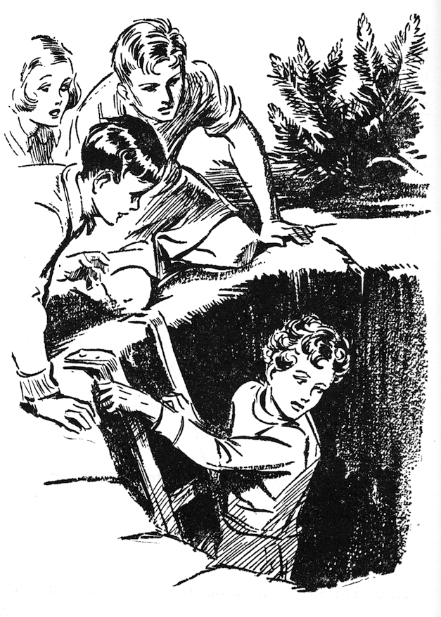 An illustration for the first Famous Five novel, Five On A Treasure Island illustration by Eileen Soper.