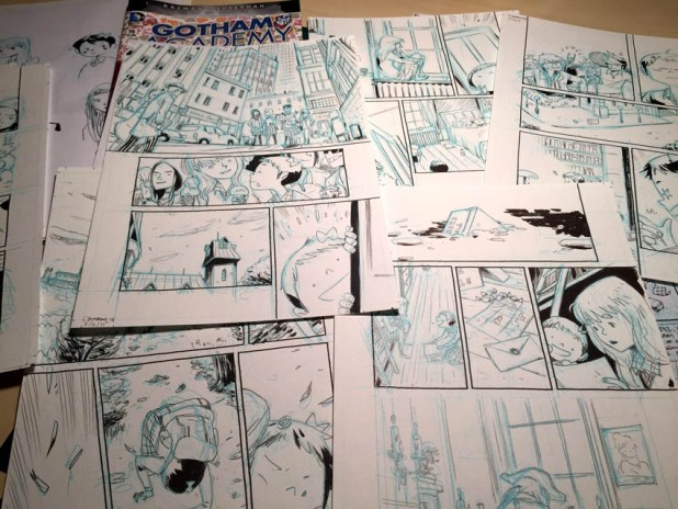"Work in progress for the Gotham Academy story ""Boring Sundays"" by Ken Niimura"