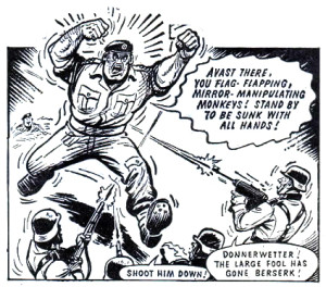 """A panel from an episode of """"Captain Hurricane"""" written by Scott for an issue of Valiant, cover dated 13th July 1968. Image © Time UK"""
