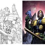 Judge Dredd Pencils by Ian Richardson; and final art. Judge Dredd © 2000AD