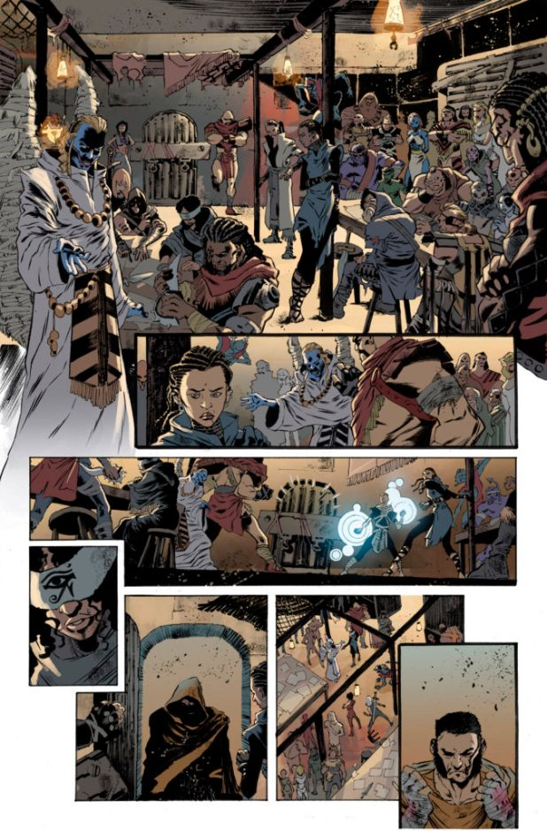 A splash page from Secret Wars Journal #1, published by Marvel in 2015. Art by Luca Pizzari