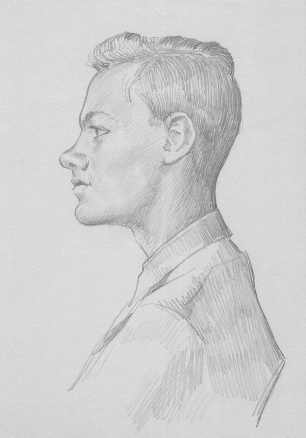 Norman Dickinson's pencil sketch of David Slinn circa 1950s