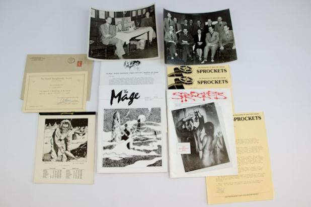 Fanzines, letters, Photographs and a certificate from Alan Hunter's varied collection. Photo: Langley & Jones Specialist Auctions
