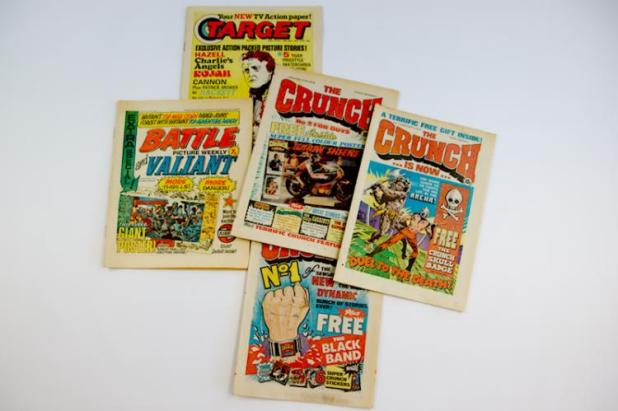 A collection of UK Number One Comics including Target, Battle and the first three issues of The Crunch. Photo: Langley & Jones Specialist Auctions