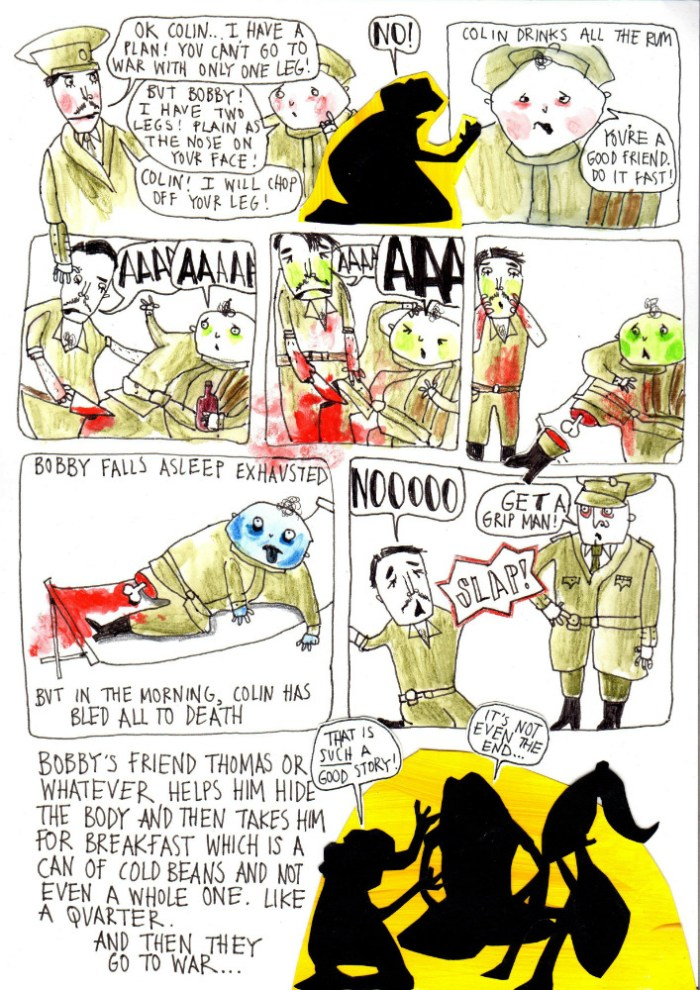 """Danny Noble gives us a campfire ghost story of World War One in her own singular irreverent style in """"Plain as the Nose on Your Face"""". Art by and © Danny Noble"""