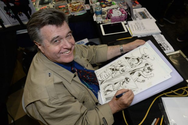 Neal Adams at work on the Meerkats comic