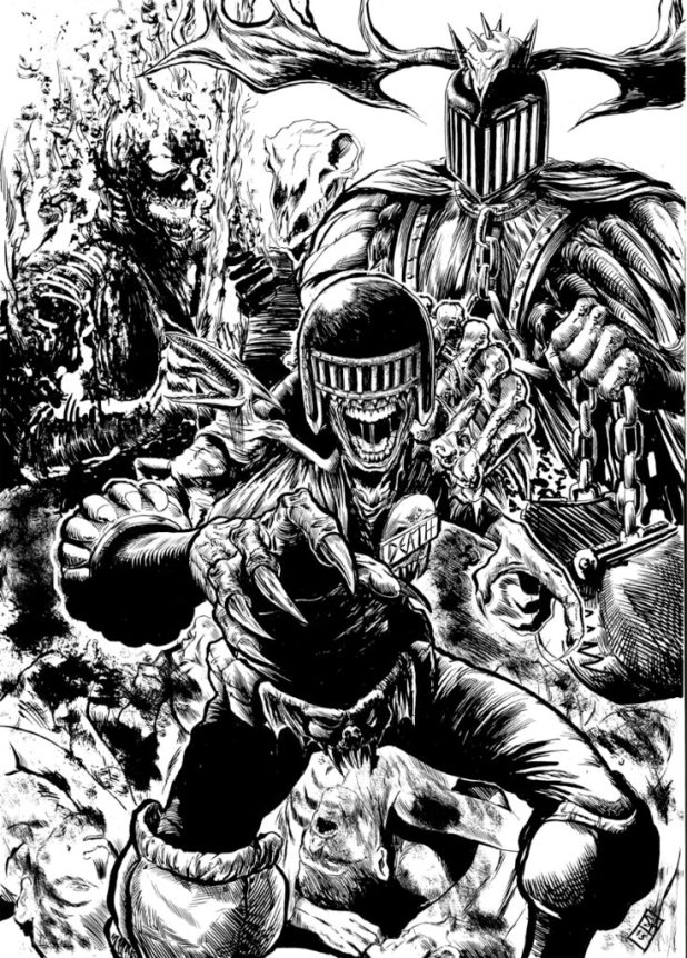 "A ""Dark Judges"" illustration by Steven Austin"