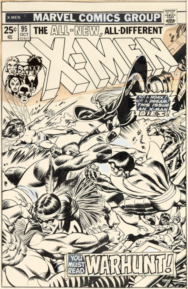 "Gil Kane and Dave Cockrum X-Men #95 Cover Original Art (Marvel, 1975). This is the earliest cover of the ""All-New, All-Different"" X-Men Heritage Auctions has ever handled. It was only the third regular comic cover featuring this team (counting Giant-Size X-Men #1)."