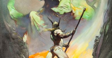 """Frank Frazetta The Norseman Painting Original Art (1972). The early 1970s were a strong and prolific period for this master painter. Frazetta produced at least 11 paintings in 1972, and """"The Norseman"""", with its stunning combination of vivid colours, is as mesmerising as it is powerful."""