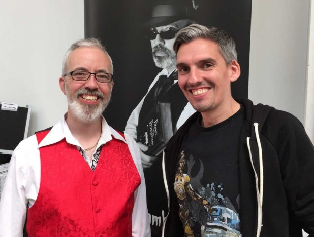 Local fantasy author AS Chambers and illustrator Wayne Ashworth, who draws a mean Millennium Falcon