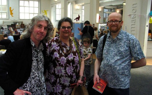Tim Quinn with locally-based comics writer Antonella Caputo and cartoonist Nick Miller, who created the event's artwork