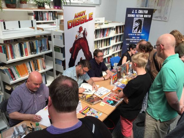 Comic artists Lew Stringer, Sean Phillips, comics writer Andy Diggle and author JS Collyer at Lancaster Comics day 2016. Photo: John Freeman
