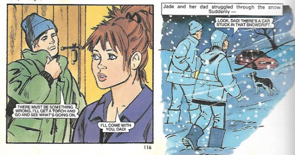 """Maureen's final published strip for DC Thomson - """"Lost in the Snow"""", published in the 2001 Bunty annual"""