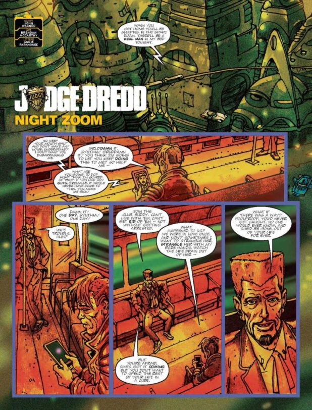 "Judge Dredd: Night Zoom"" by John Wagner, Brendan McCarthy, and Annie Parkhouse"