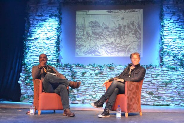 Alan Mitchell and Pat Mills on stage at North Wales Comic Con. Photo: Lisa Mills