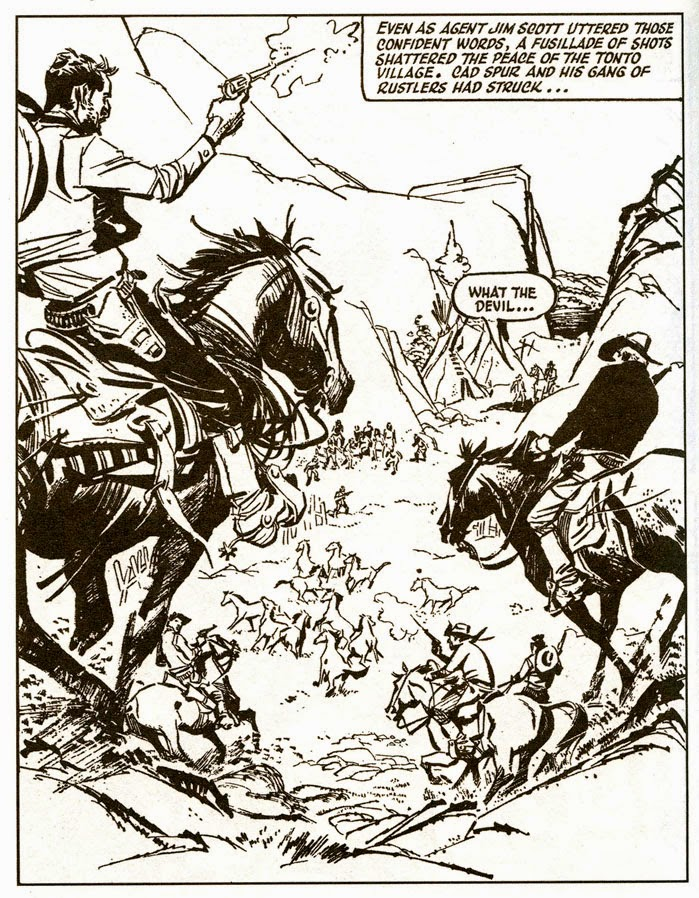 "A dramatic full page image from Cowboy Comics Library No. 402 (May 1961), "" Buck Jones: Apache Manhunt"", drawn by Alberto Breccia"
