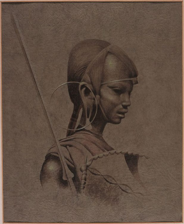 "Masai Warrior art by Frank Bellamy, which features in the ""Comics Unstripped!"" exhibition. Via the Frank Bellamy Blog"