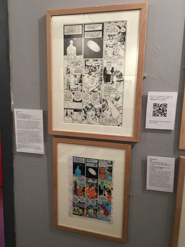 Watchmen artwork by Dave Gibons - and the final page - on display at the Cartoon Museum. Photo: Alan Russell