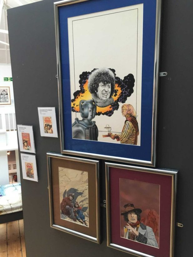 Doctor Who book cover art by Chris Achilleos and others, on temporary display earlier this year at the Cartoon Museum. Photo: Alan Russell