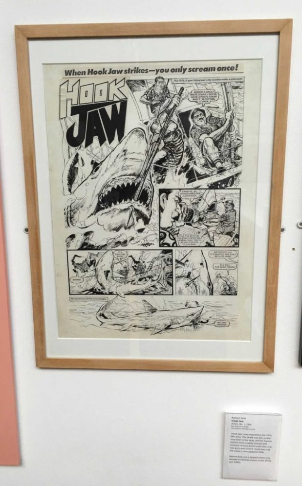 "The first page of the first episode of the Action strip ""Hookjaw"", art by Ramon Sola"