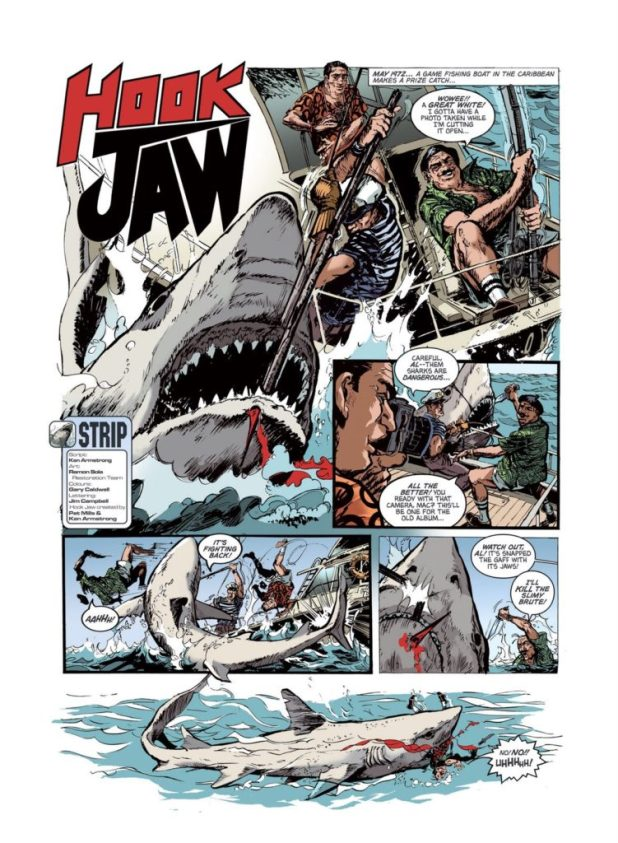 The original Hookjaw re-purposed for STRIP Magazine by Jim Campbell, coloured by Gary Caldwell.