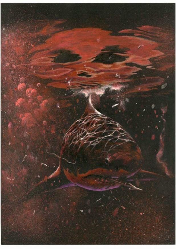 Steve White's amazing variant cover for Hook Jaw #1