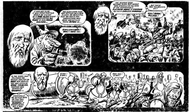 """""""The Double-Decker Dome Strikes Back,"""" written by Alan Moore, art by Mike White, published in 2000AD Prog 237 in 1981"""